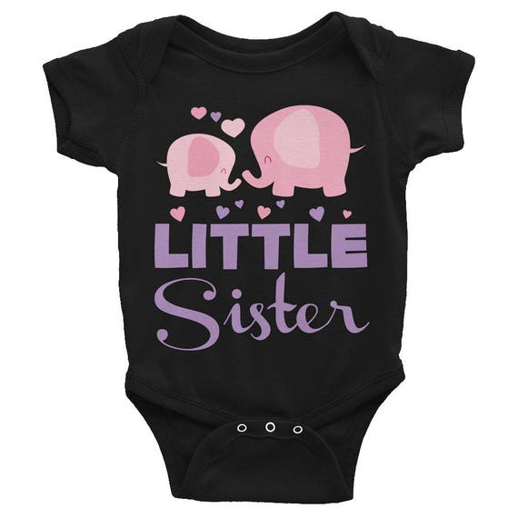 Little Sister Shirt, Sibling Shirt,Cute Elephants Little Sister Infant Bodysuit, Little sister onesie, Baby girl clothes, Sister Outfit