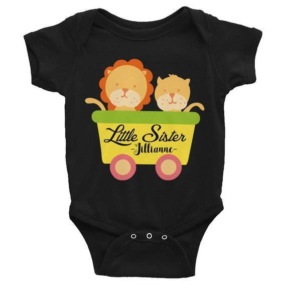 Custom Name Lion Onesie, Personalized Name Infant Bodysuit, Customized Cute Animals Baby Clothes