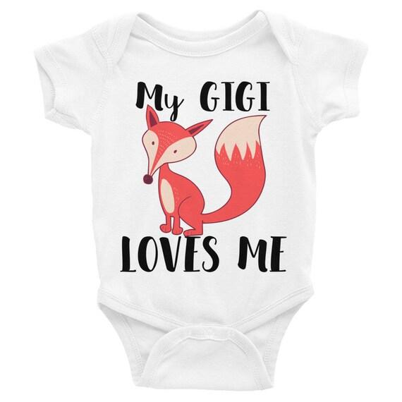 Fox, My Gigi Loves Me Baby Onesie   Gift for Granddaughter Infant Bodysuit   Gigi,granddaughter,grandma, Grandparents Gift idea for babies