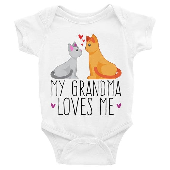 My Grandma Loves Me Onesie, Infant Bodysuit | Cute Grandchild Onesie | Cute Onesies Cat and Kitty | Gift for Granddaughter, Loved by Grandma