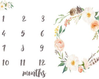 Baby Milestone Fabric in Peach Florals. Calendar First Year Newborn Photo Prop Monthly Newborn Photography Flowers Flower Girl Bohemian Kids