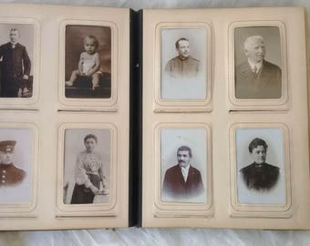 Vintage photo album with 70 photos - CDV - cabinet cards - old photo album - Cabinet photos!