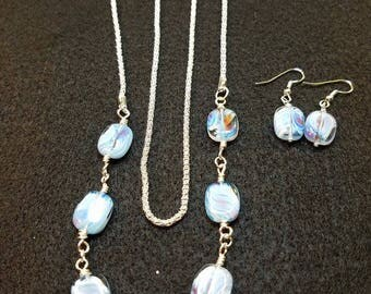 art glass necklace and earring set