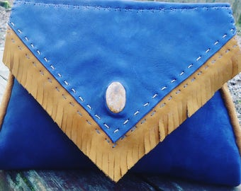 Large blue and beige Indian purse