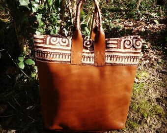 Brown cow leather large tote
