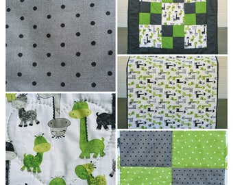 Giraffe Nine Patch Quilt // Baby Blanket // Hand Quilted
