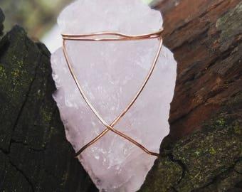 Pink quartz arrowhead pendant