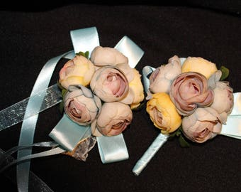 Bride Groom Bridesmaids Corsage hand wrist flower  boutonniere bridal wedding Combo Package