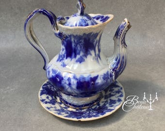 FREE SHIPPING Antique U & Cie Bryonia Blue Flow Ware Coffee or Tea Pot with Plate Utschneider et Cie 1800s