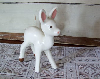 White fawn with pink ears, 1930's dime store 6 inch figurine.