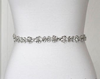 Dainty Rhinestone Belt, Crystal Bridal Belt, Bridal Sash, Wedding Belt, Wedding Sash Rhinestone Sash