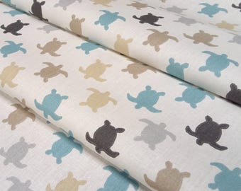HERMANN turtles fabric - blue and taupe on cream background - size for 1 quantity of 50 cm x 160 cm - 100% cotton oekotex