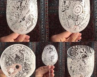 Doodled Custom Wine Glass