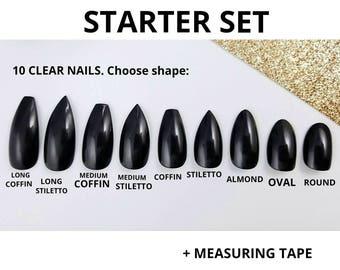 Press on nails measuring pack - Sizing sample kit - Soft measuring tape - Nail sizing sample - Measure tape - Starter pack