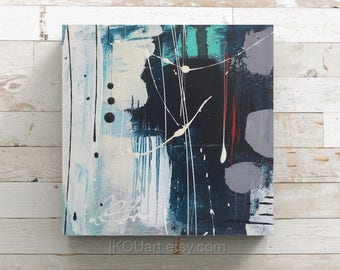 """Small abstract painting, small abstract painting, sea art, wall art, ikouart, small canvas, square painting, 6 """"x 6"""" x 1, 5 """"Isabelle Couture"""