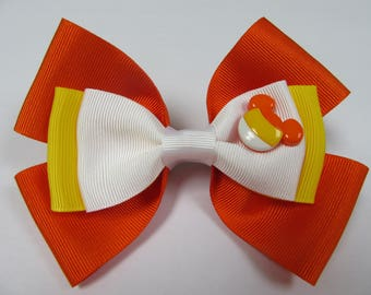 Candy Corn Mickey Mouse Disney Inspired Halloween Hair Bow
