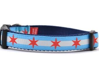 Chicago Flag Dog Collar - Small