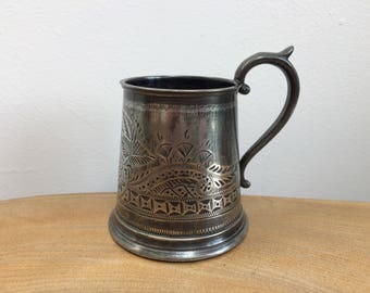 Child's Antique  Victorian Small Mug, Tankard - EPBM,  Electro, Silver Plate, Engraved Flowers, Harrison Fisher, HF & Co, Sheffield