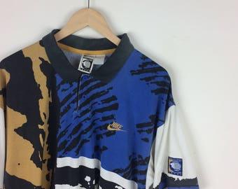Vintage Nike Challenge Court Shirt / Nike Tennis Shirt / Nike Sport / Sport Gear / Nike Big Logo / Nike Swoosh / Nike Jacket / Agassi
