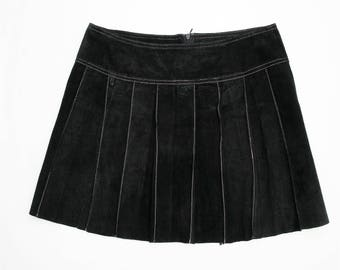 Vintage Nicola Berti Suede Leather Pleated Mini Skirt 6
