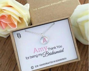Personalised Cabochon Bridesmaid Pendant