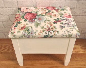 Stool, Footstool, Foot Stool, Stool With Storage, Storage Footstool, Upholstered Stool, Country Decor, Gift For Mum, Grandma Gift