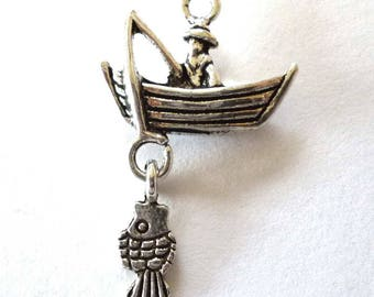 Silver Tone Metal Solid Man Fishing in a Boat with a Fish Charms or Pendants - H664