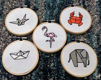 Origami Embroidery Hoop Collection Elephant Paper Boat Crane Crab Flamingo Handmade Craft