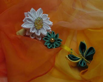 Kanzashi Tsumami Flowers and Butterfly