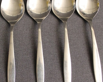 Oneida Stainless Tempo Four Oval Soup Spoons
