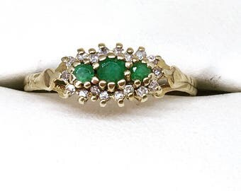 Vintage 9ct Gold Emerald & Diamond Cluster Engagement Ring, Vintage Diamond Engagement Ring, Emerald Ring, Anniversary Gift, Free Shipping