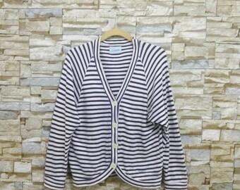 Vintage Tsumori Chisato Sweatshirt Cardigan Striped Rare Designer Fashion Japan Issey Miyake Yohji Yamamoto Comme des Garçons Junya Watanabe