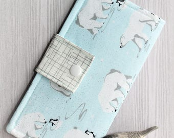 Polar bears and Penguins Womens wallet, bifold wallet, handmade fabric wallet, credit card wallet, checkbook wallet, slim clutch wallet