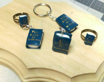 LDS Book of Mormon key chain , book of Mormon charm, book of Mormon ring.