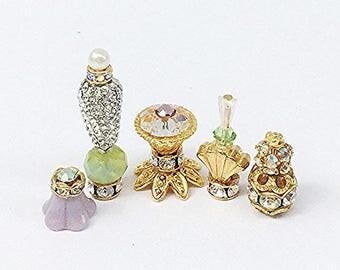 Miniature Celadon Crystal Bottles and Objet D'art Set