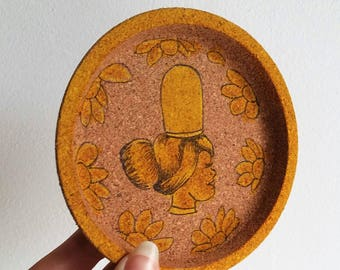"Painted ""Brittany"" Cork coaster"