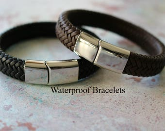Gift For Men - Men's Personalised Leather Bracelet - Boyfriend Gift - Husband Gift