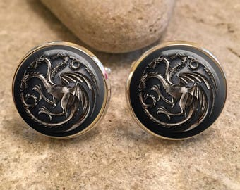 Targaryen Game of Thrones Glass Dome Round Cabochon Cuff Links Gift UK