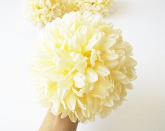 "8 X-Large Giant Chrysanthemums Silk Flowers Artificial Flowers Creamy Peach Dahlias 7.3"" Flower Hair Accessories Wedding Supply Wedding"