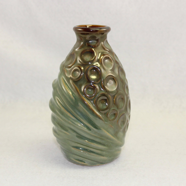Vintage green ceramic vase mid century mad men look great vintage green ceramic vase mid century mad men look great conditiondifferent size circles adorn with asymmetrical green striping reviewsmspy