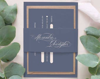 Calligraphy wedding bellyband wedding invitation set