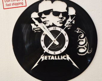 Metallica black themed Vinyl Album Record Clock made in the > USA < with FREE Shipping!