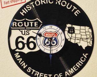 Historic Route 66 vinyl record clock *FREE SHIPPING*