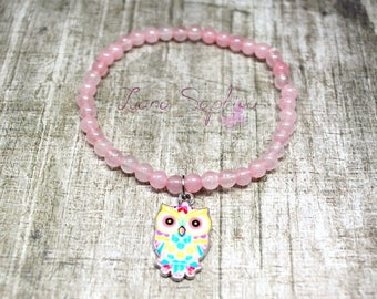 Pearl bracelet pink with colored OWL pendant