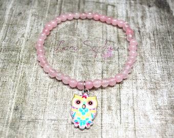 Parel armband roze met gekleurde uil hanger