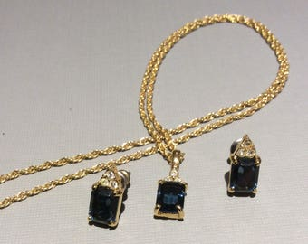 Blue Rhinestone Necklace and Earring Set