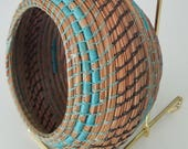 Blue and Brown Basket - Coiled Pine Needles with Black Walnut - Decor Wall Hanging Cabinet Table Rings Jewelry Holder - Made in FL  45.00