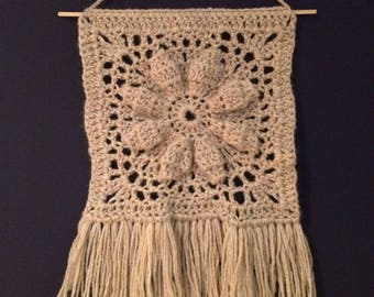 Crochet Wall Hanging with Fringe - Macrame style wall art in recycled wool!