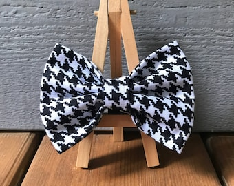 Houndstooth dog  bow tie