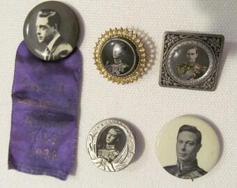 Celluloid pinbacks Edward VIII & George VI 1930's